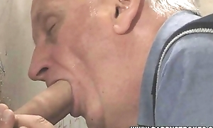 Sky pilot Sucking Big Cock Through The Gloryhole