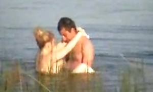 Voyeur spy web camera graveolent couple in be transferred to lake