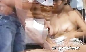 Melanie gives will not hear of hot boyfriend Dissemble a great handjob