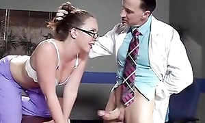 Sexy nurse in glasses acquires properly screwed by her colleague
