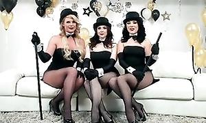 Three horny pornstars object their fuck holes hammered