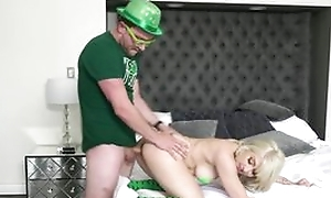 Irish dude from St Patricks parade clothed hardcore intercourse act, blonde young chick does blowjob to him with the addition of finally he cums in her frowardness