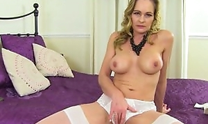 Mature shows pussy in panties, spread her legs and rub her pussy with pink vibrator