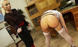 Nice lesbian BDSM fetish lashing experience, hot lesbians in stoclokgs lashing each other till orgasm