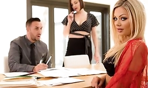 Nice awesome milf with blonde prickle does blowjob, stickcing cock gaping void in her throat, fucked in real hardcore sex movie and cumshot