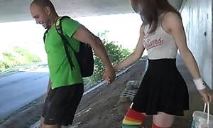 Cute schoolgirl upon high-knee socks enjoys fucking upon public