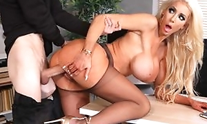 Tall fuckdoll nearly huge silicone tits receives her cunthole drilled