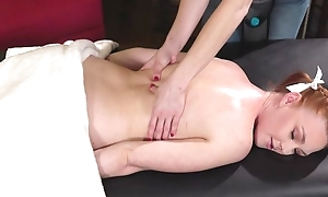Cute redhead explicit gets seduced and fucked wits her kinky masseuse