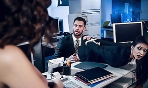 Jugs of stunning brunettes fuck one casual in the office