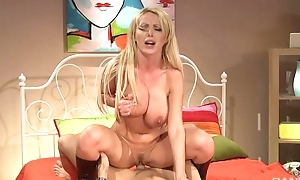 Blonde MILF rides big man sausage nearby passion and lust