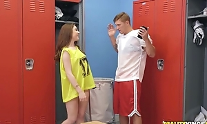 Athletic ladies' Oliver Flynn fucks cute chick in the locker room
