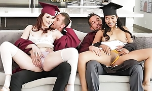 Two kinky college girls with grown sexual appetite swapping their dads