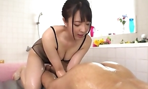 Hot Japanese girl with chunky natural tits licks BF's asshole