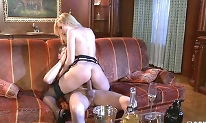 Team a few slutty chicks moan to the fullest extent a finally getting their eager holes fucked
