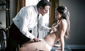 Exotic looking girl with unassuming pair shagged by perverted bishop