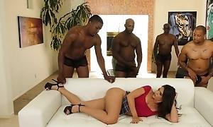 Juvenile lalin girl with pierced nipples enjoys interracial team fuck