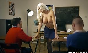 Bosomed teacher in black stocking seduced two half-starved boys