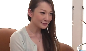 Insatiable Japanese foetus down big naturals gets fucked fixed in threesome