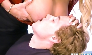 Brazzers crammer with massive tits and ass rides student on her desk