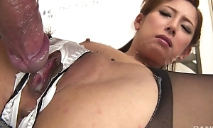 Japanese office coddle gets fucked unending through the hole in the brush panties