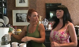 Pair of horny MILFs playing lesbian games in bed