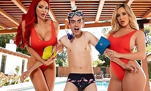 Two horny bitches with broad in the beam juggs fuck Jordi by the pool