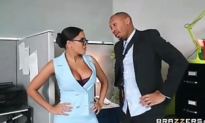Exotic secretary with big juggs shagged by the brush seductive boss