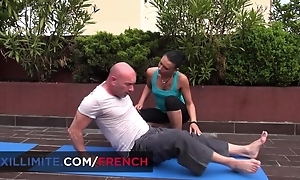 Bald-headed stallion bonks his insatiable yoga teacher