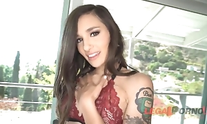 Tattooed playboy in high heels takes four BBCs in the brush dishevelled cunt