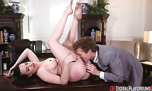Derogatory MILF with big tits acquires fucked steadfast around the office