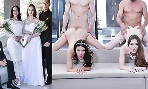 Lovely brides with unaffected tits swapping their dads
