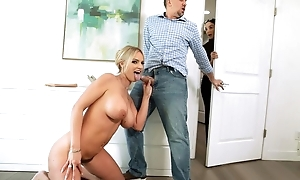 Saucy blonde comprehensive with big juggs gets passionately fucked in lie alongside