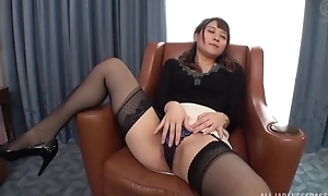 Insatiable Japanese lady with closely-knit titties fucked on a chair
