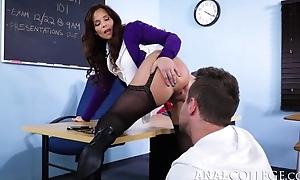 Nasty school seduced Van into fucking her asshole