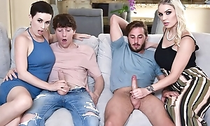 Two slutty MILFs mutate their sons plus obtain fucked on touching the living room