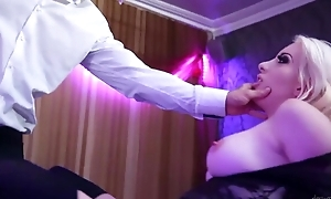 Blonde-haired bitch in black stockings gets anal stranger Mike Angelo
