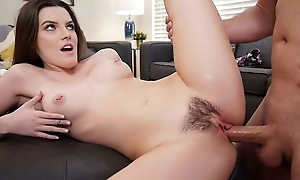 Dark-haired beauty pleasuring Sean in the cognizant of room