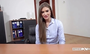 Long-haired Ukrainian chick gets anally fucked in the office