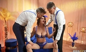 Big breasted masher in sexy lingerie serves two indestructible dicks