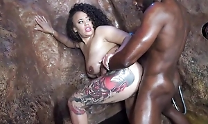 Tattooed jet-black mom gives head with the addition of gets deeply fucked