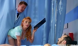 Horny Russian doctor fucks redhead nurse in the ass
