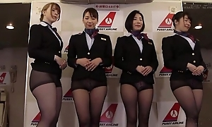 Group of Asian stewardesses object fucked good coupled with proper