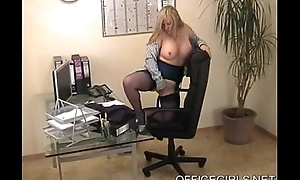 dominate blonde secretary in blue nylons at the office
